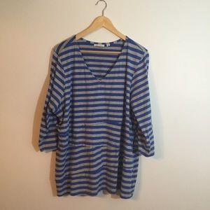 D&CO Blue Gray Striped Top Plus Size 2X Stretch